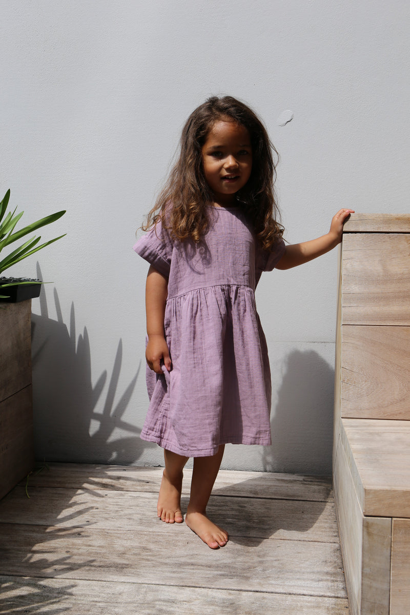 DAILY BRAT DAISY DRESS DUSTY LILAC