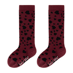 HEARTS KNEE SOCKS REDWOOD