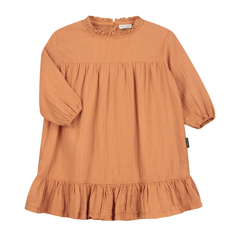 DAILY BRAT LOIS RUFFLE DRESS CANYON CLAY
