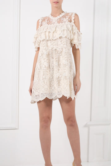 Short draped embroidered dress