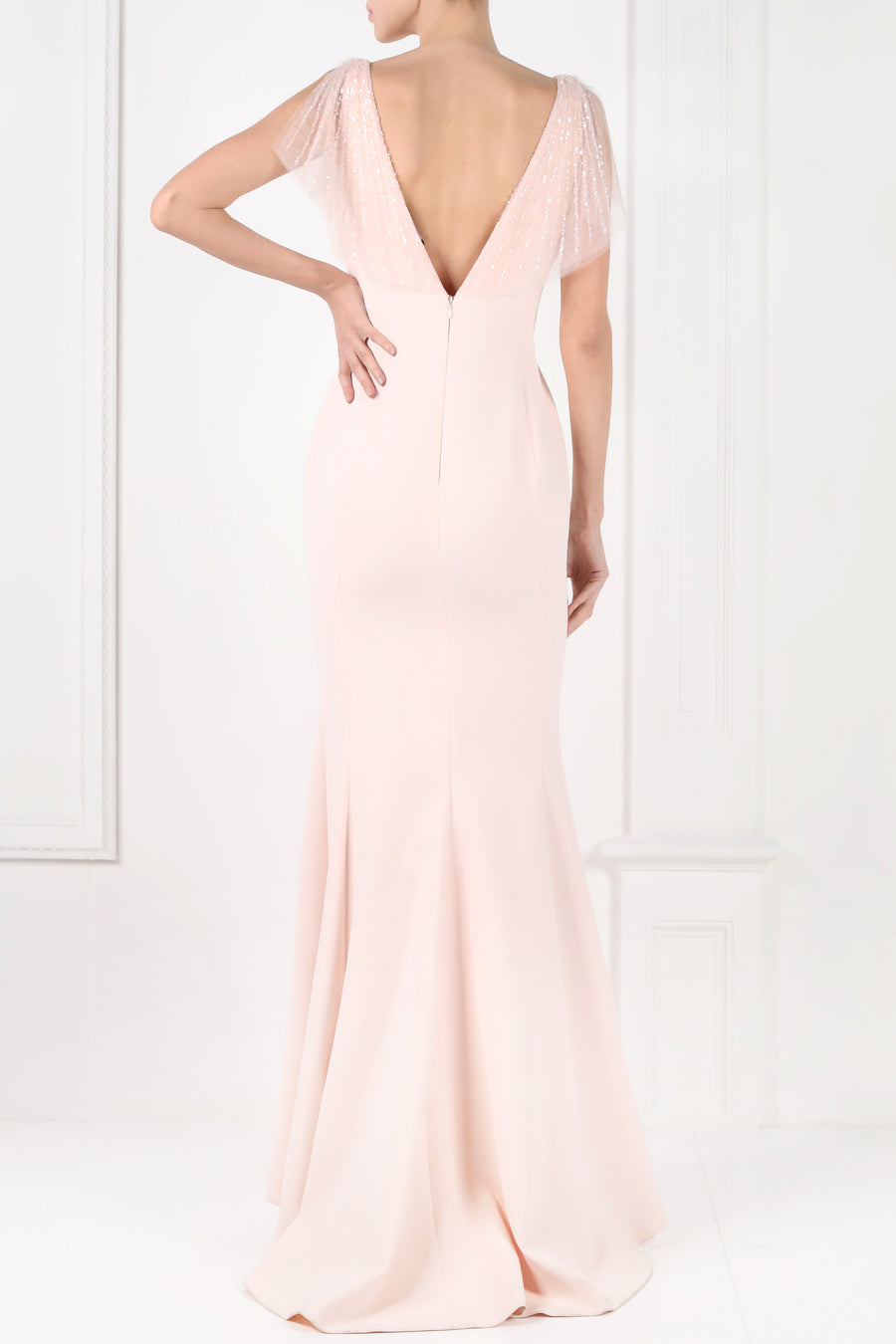 'Lucia' Plunged Long Dress