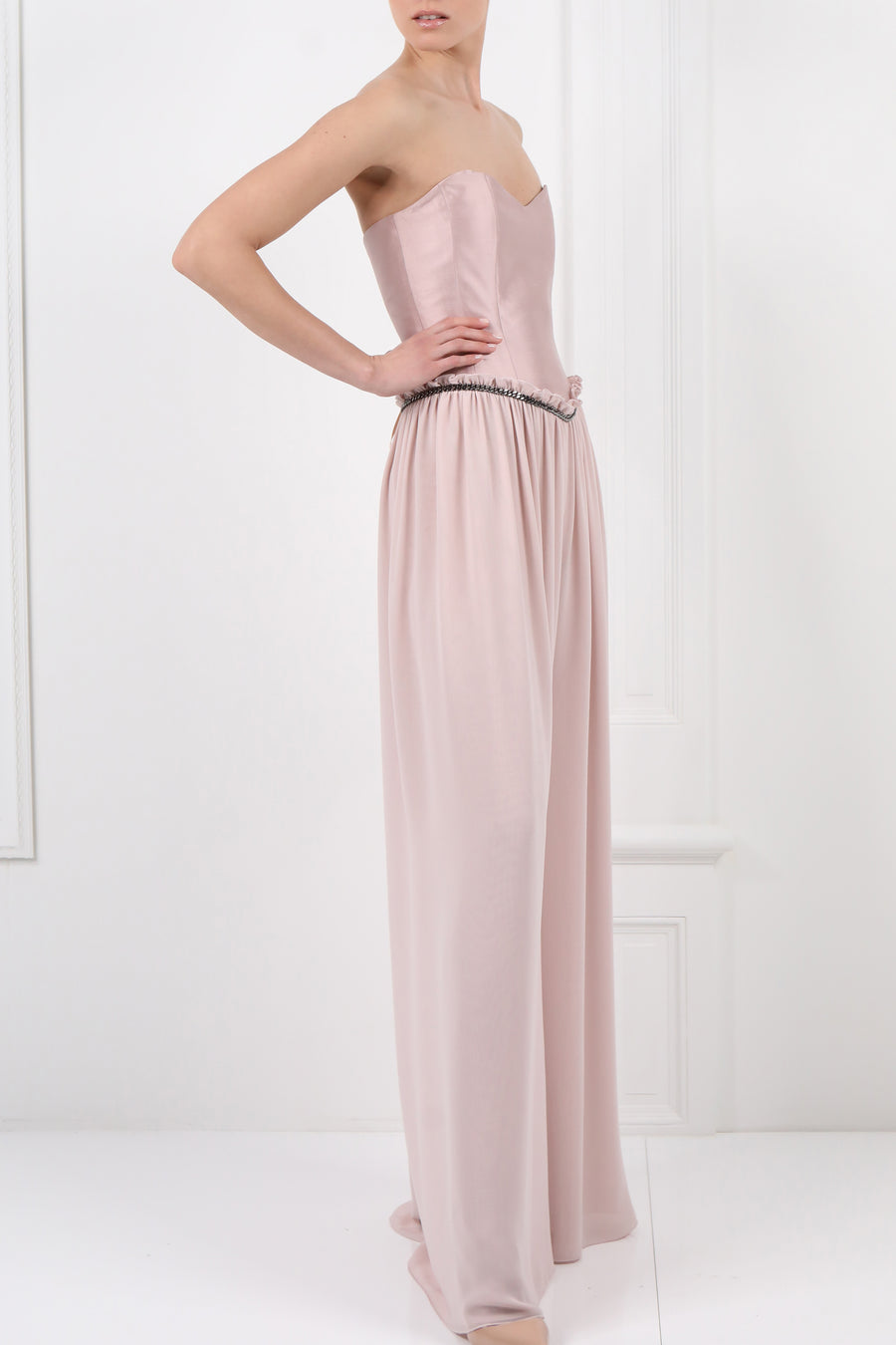 Strapless Jumpsuit With Scarf