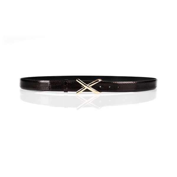 'Avery' Python Cross Buckle Belt