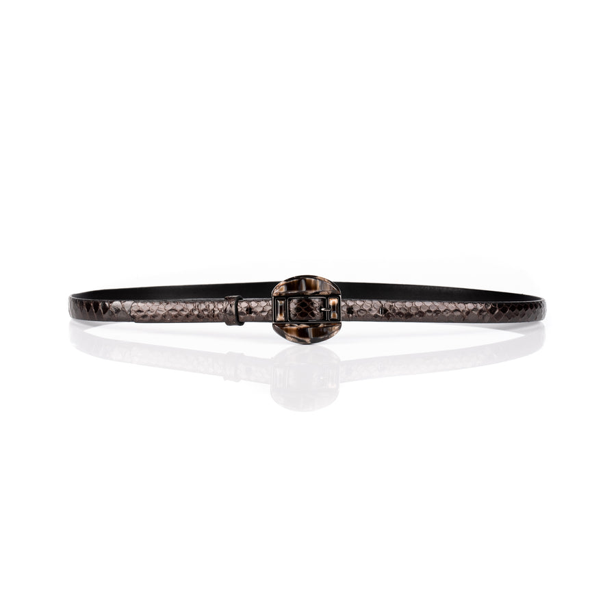 'Eleanor' Slim Python Leather Belt