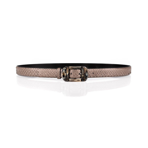 'Audrey' Double-Buckle Anaconda Belt