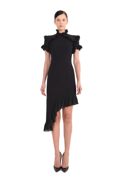 'Peyton' High Collar Ruffled Dress
