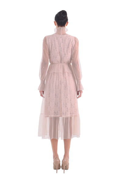 'Kalya' Dusty Blush Lace Dress