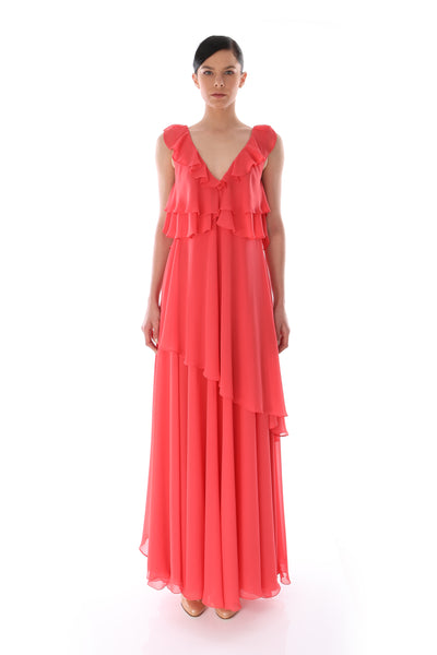 'Valentina' Draped Long Dress