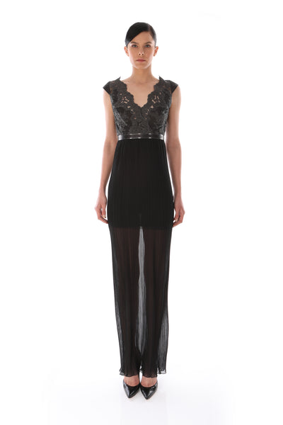 'Giovanna' Lace & Python Snake Chiffon Dress