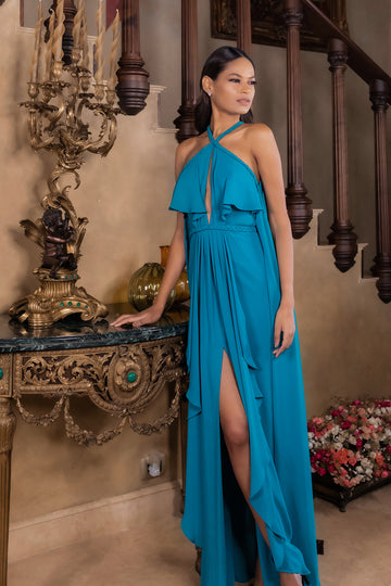'Lillian' braided chiffon dress