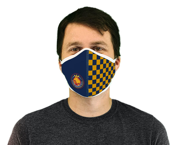 Utah Royals FC Navy & Gold Checkered Premium Face Mask