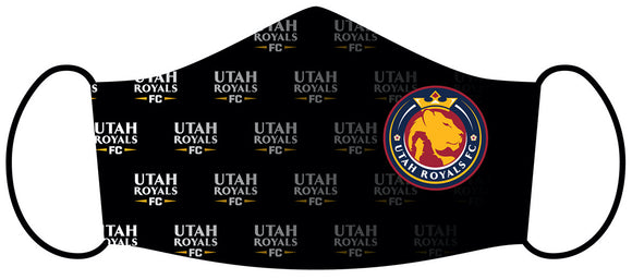 Utah Royals FC Black Wordmark Scatter Face Mask