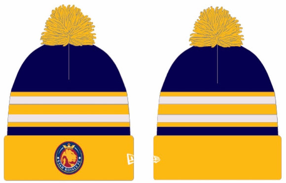 Utah Royals FC New Era Navy/Gold Stripped Knit Pom Cuff Beanie