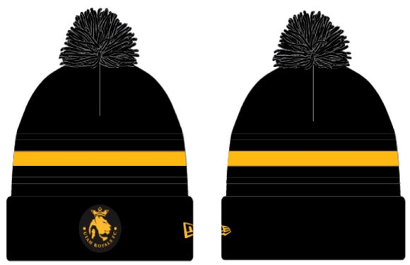 Utah Royals FC New Era Black/Gold Knit Pom Cuff Beanie