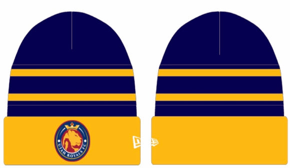 Utah Royals FC New Era Navy/Gold Stripped Knit Cuff Beanie