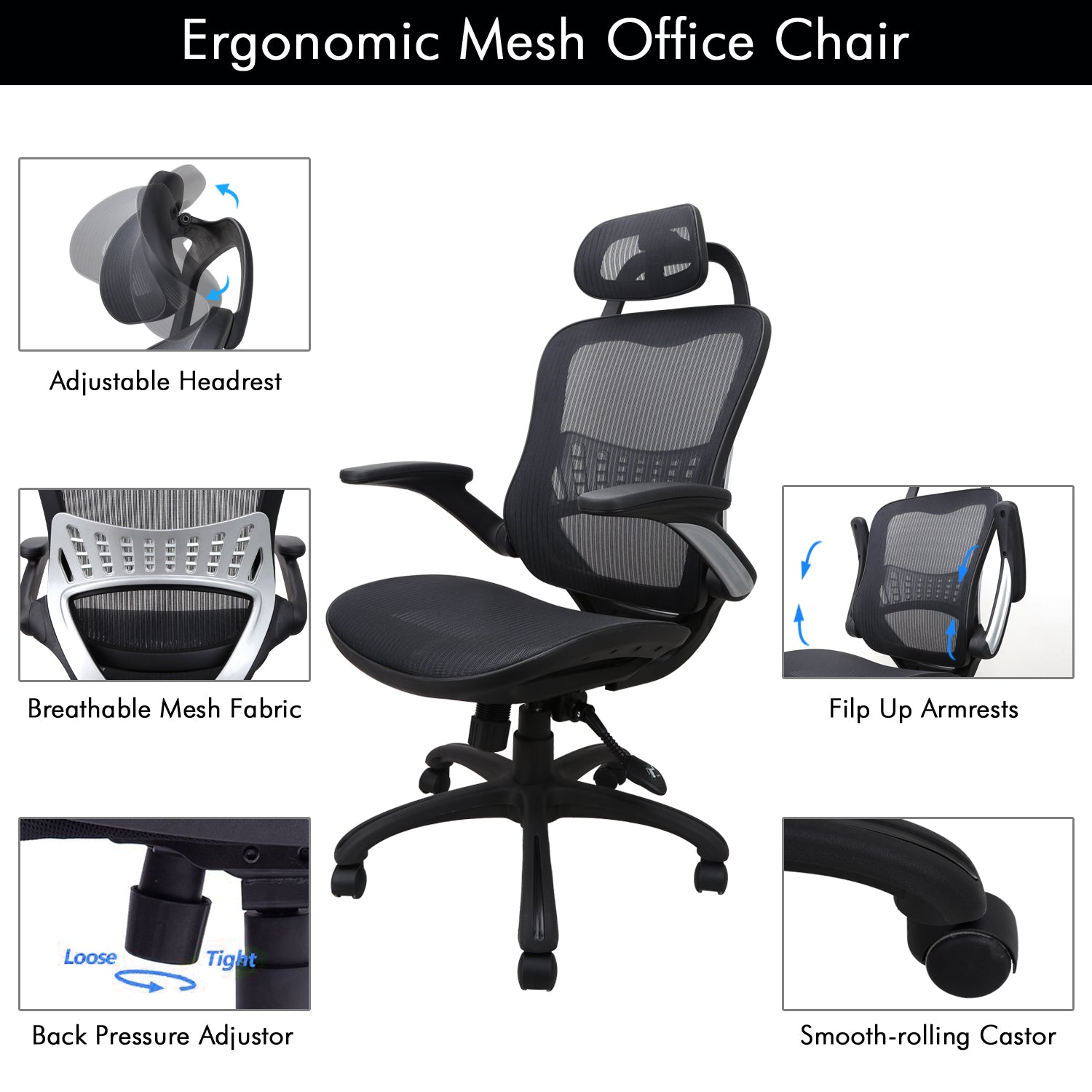 Office Chair Armrest HEADREST u0026 MOVABLE ARMRESTS