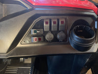 Honda Pioneer 500 Switch Plate: Horn, Led Light Bar, Winch, Voltmeter, switch blank, and USB