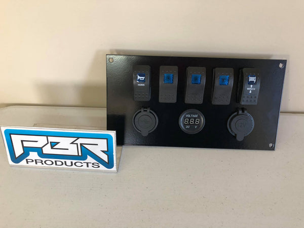 Honda Pioneer 1000 Switch plate COMPLETE includes PLATE 5 switch BLUE with Winch Horn and Volt