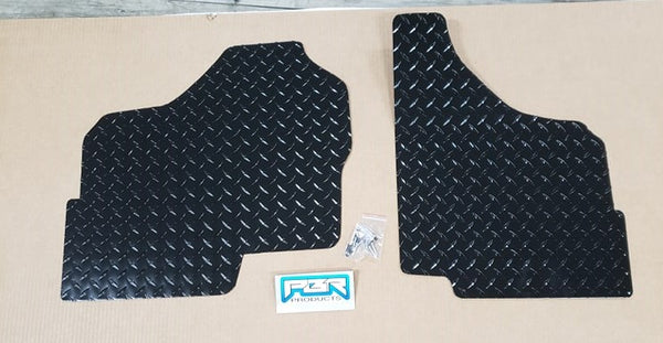 Honda Pioneer 1000 front floor boards 2 piece set BLACK Diamond Plate - Part# 1000BLKFL