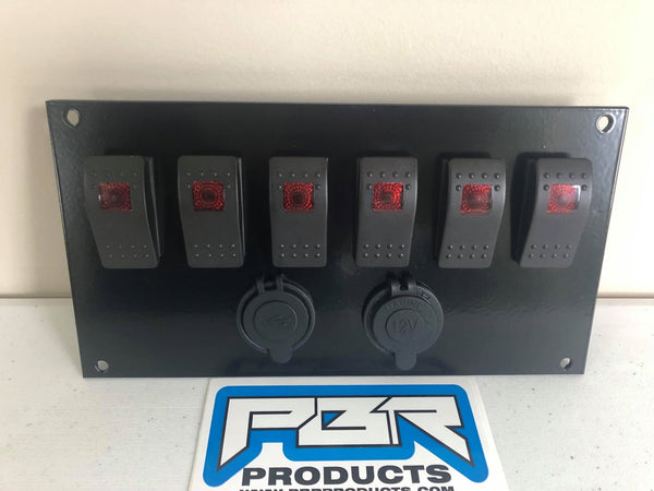 Honda Pioneer 700 Plate w/ 6 RED switches 1 Power Acc & 1 USB Port kit INCLUDES PLATE