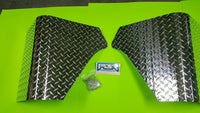 JEEP YJ WRANGLER 3 PC DIAMOND PLATE REAR BODY ARMOR CORNER GUARD KIT & filler