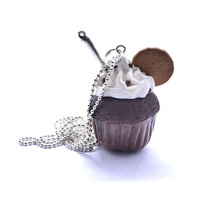 Collier sautoir cupcake chocolat avec cookie