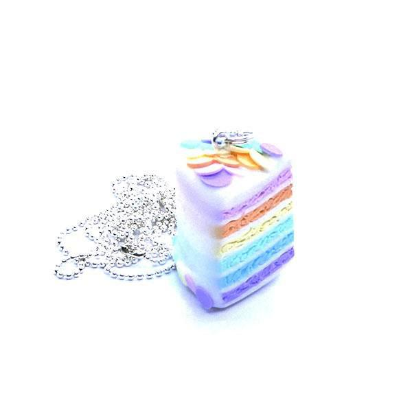 Collier sautoir (collier long) rainbow cake