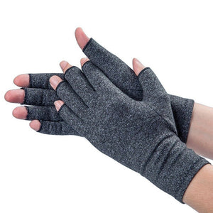 1Pair Arthritis Therapy Compression Hand Half-finger Gloves