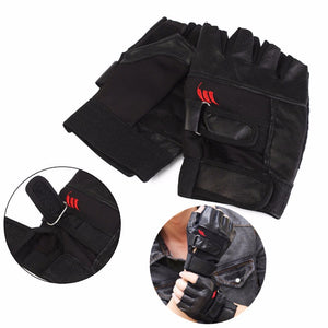 Black Leather Weight Lifting Gym Gloves