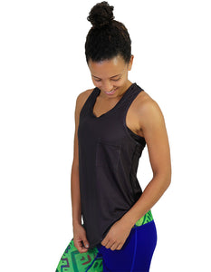 Cotton tank racer back black