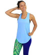 Cotton tank racer back blue