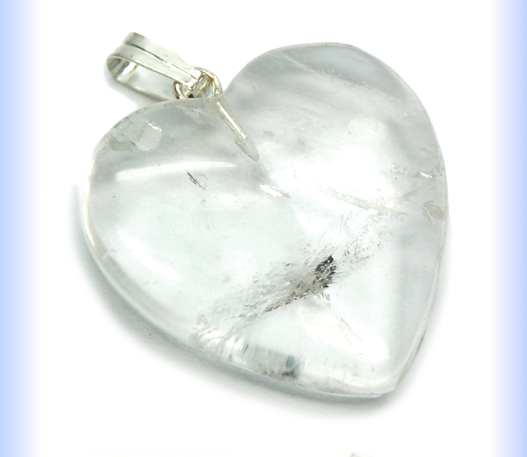 Clear Quartz Heart Pendant - Healing Crystals