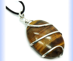 Tiger Eye Caberchone Pendant - Healing Crystals