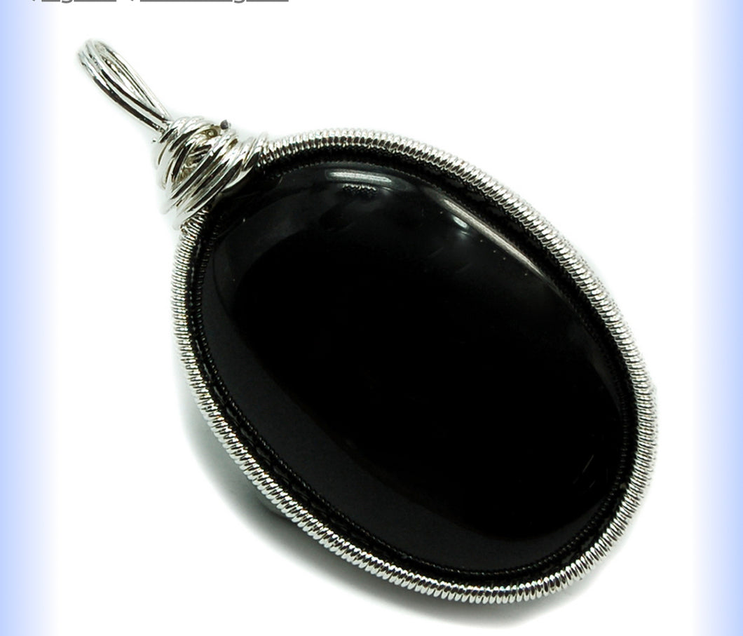 Black Agate Caberchone Pendant - Healing Crystals