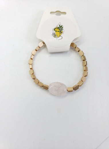 Rose Quartz and gold Bracelet - The Sacred Serpentine