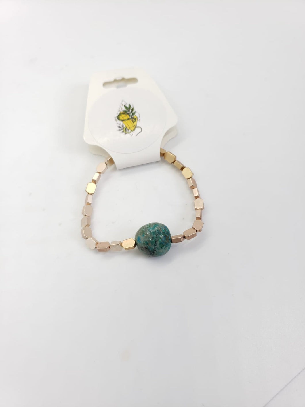Chrysocolla and gold Bracelet - The Sacred Serpentine