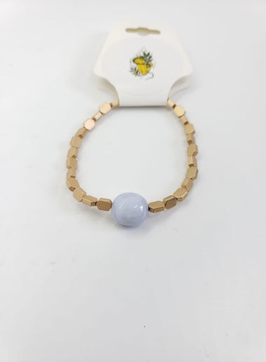 Blue Lace Agate and gold Bracelet - The Sacred Serpentine