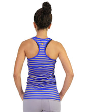 Striped racer back navy and grey
