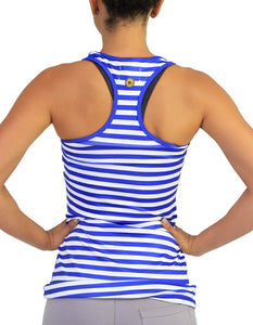 Stripped racer back navy and white