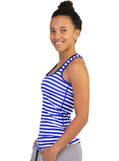 Striped racer back navy and white