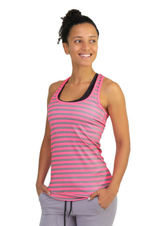 Striped racer back pink and grey