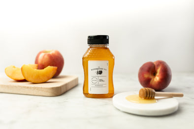 NEW! Peach Infused Raw Honey - 8 Ounces