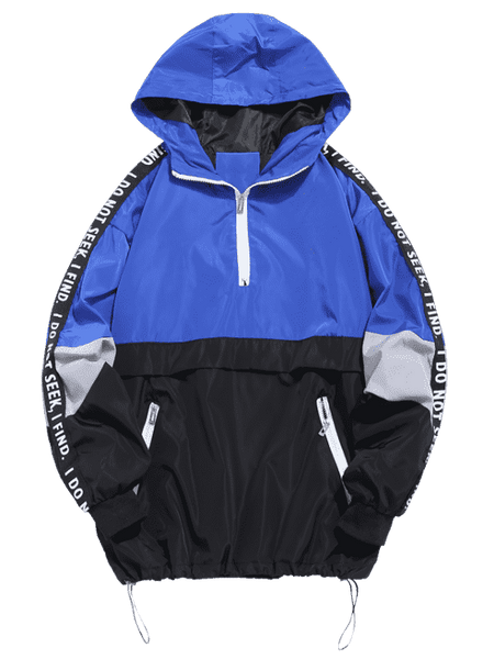 PATHFINDER PULLOVER JACKET - BLACK/BLUE - CLOUT CULTURE