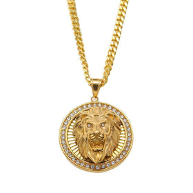 ICED OUT 360 LION HEAD CHAIN - GOLD - CLOUT CULTURE