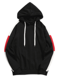 STRIPED RETRO HOODIE 2.0 - BLACK WHITE/RED - CLOUT CULTURE