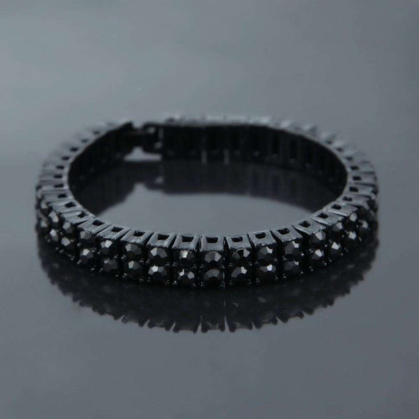 2 ROW ICED OUT BRACELET - BLACK - CLOUT CULTURE