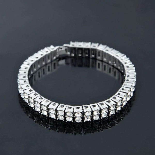 2 ROW ICED OUT BRACELET - SILVER - CLOUT CULTURE