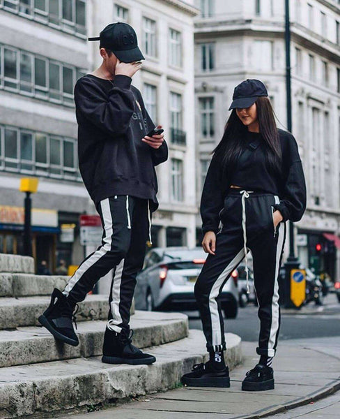 RETRO PANTS - BLACK/WHITE - CLOUT CULTURE