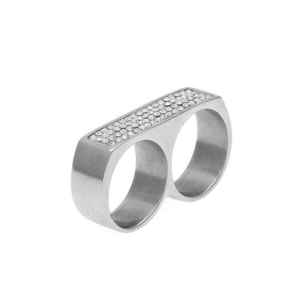 ICED OUT KNUCKLEBAR RING  - SILVER - CLOUT CULTURE