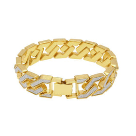ICED OUT CURVED CUBAN BRACELET - GOLD - CLOUT CULTURE